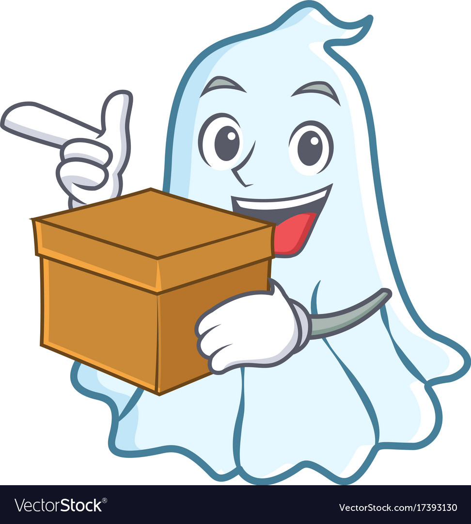 With box cute ghost character cartoon