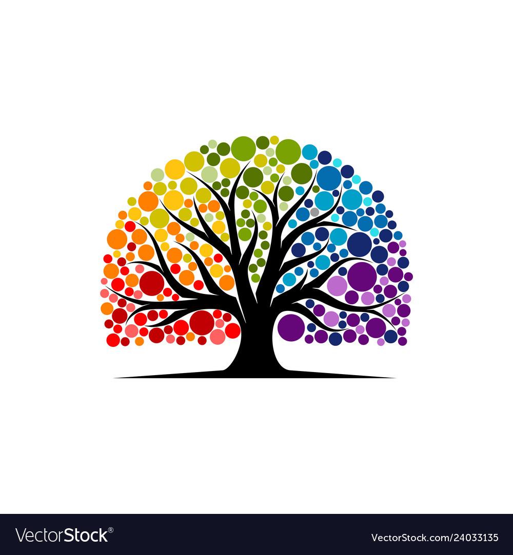 Abstract vibrant tree logo design root