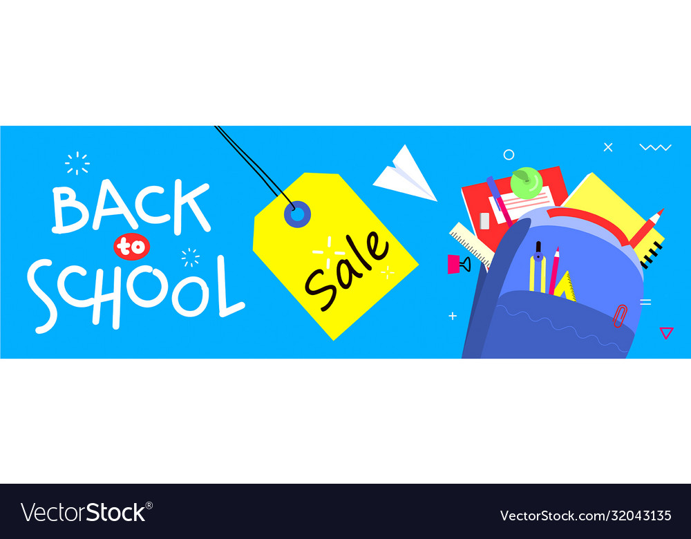 Back to school banner flat design background vector