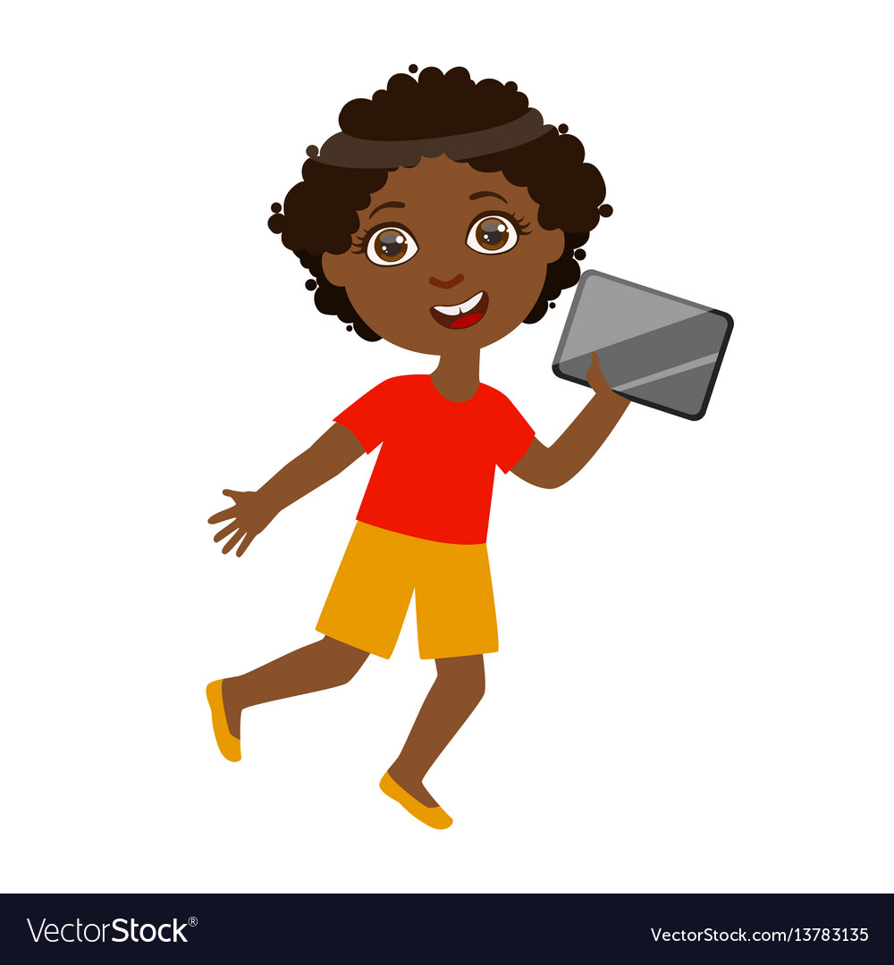 Boy running with tablet part of kids and modern