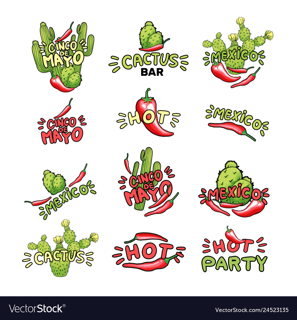 Cactus and chili pepper hand drawn