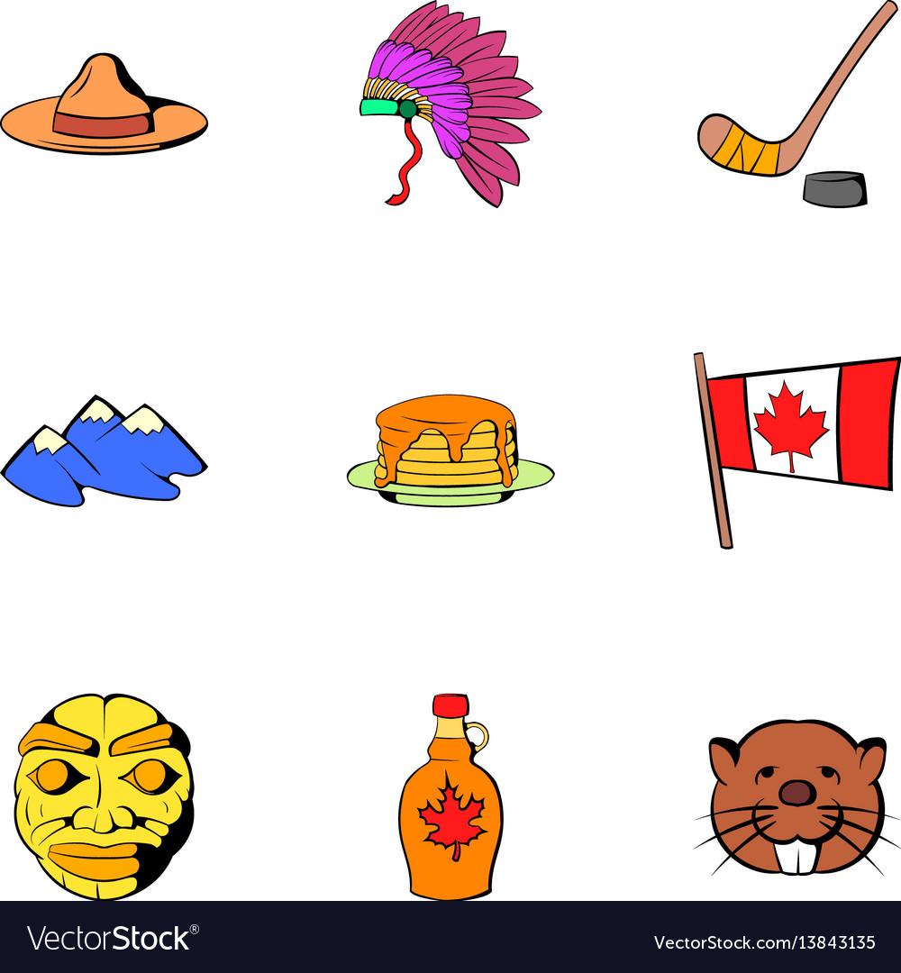 Canadian travel icons set cartoon style