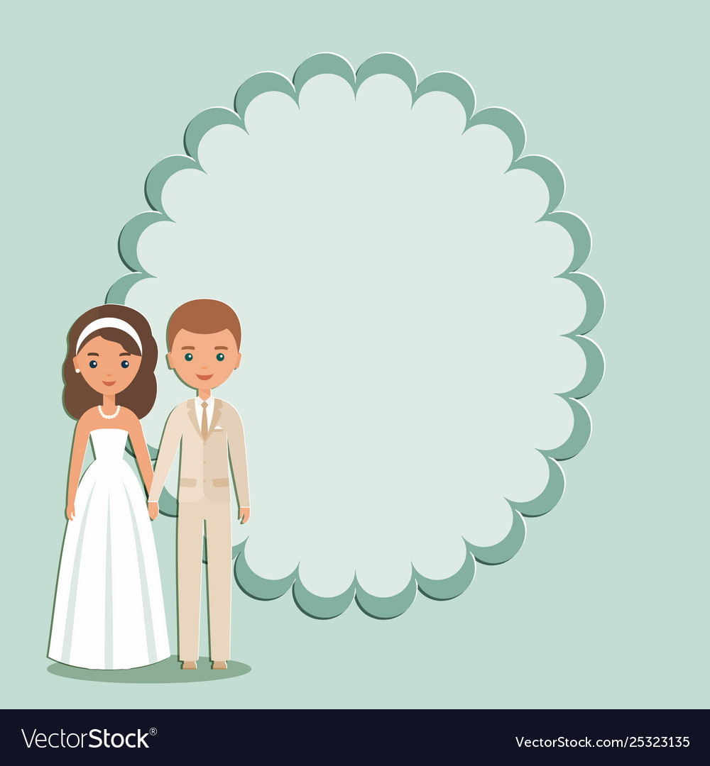 Cartoon groom bride with space for text