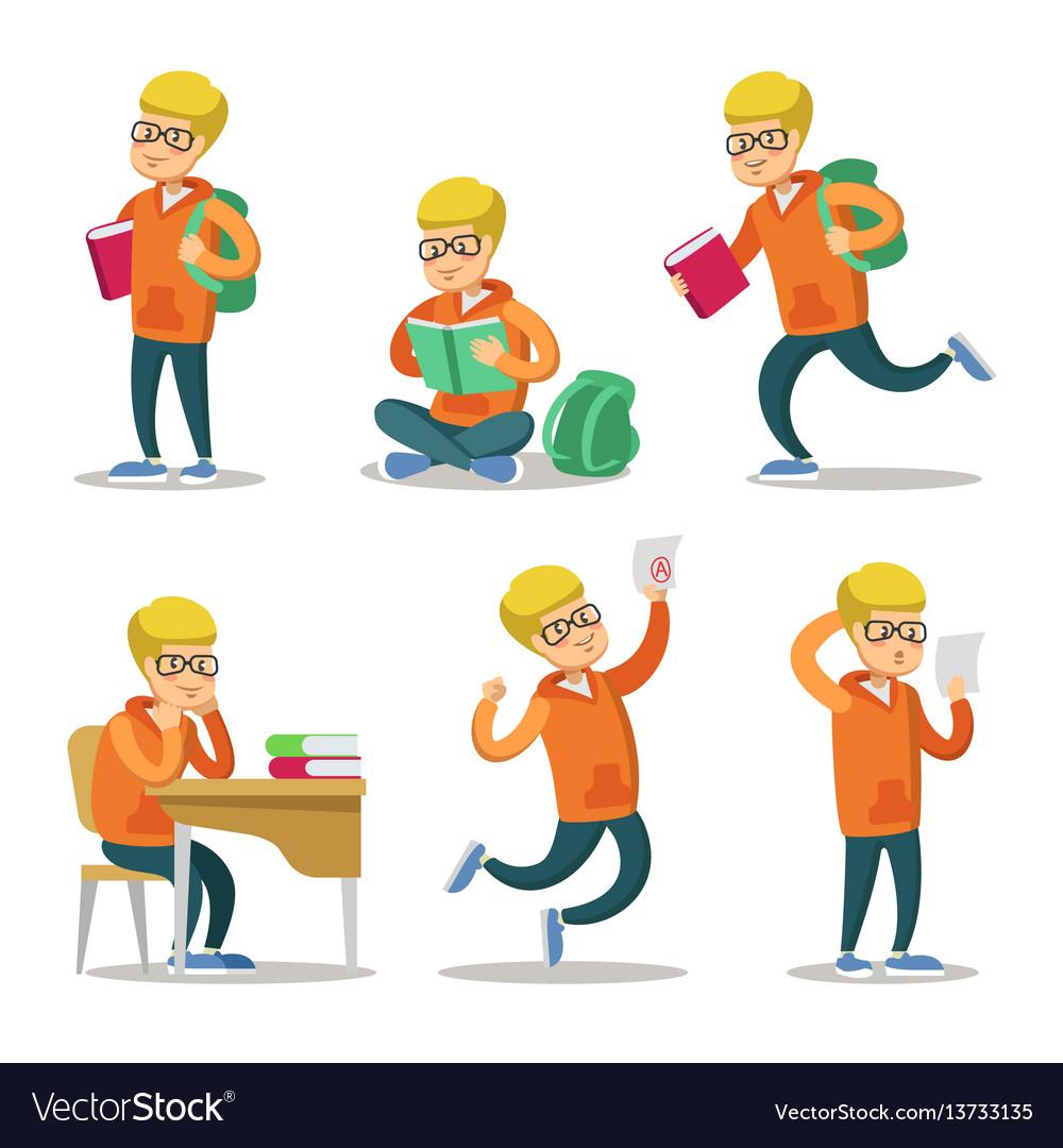 Cute student cartoon character set