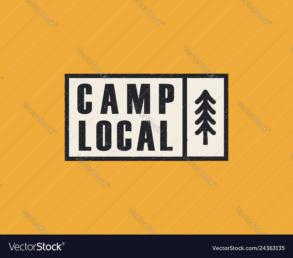 Hand drawn adventure logo with pine tree forest