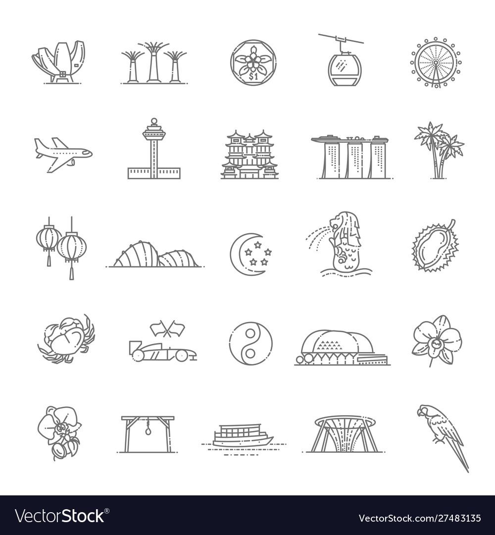 Singapore icon set thin line icon