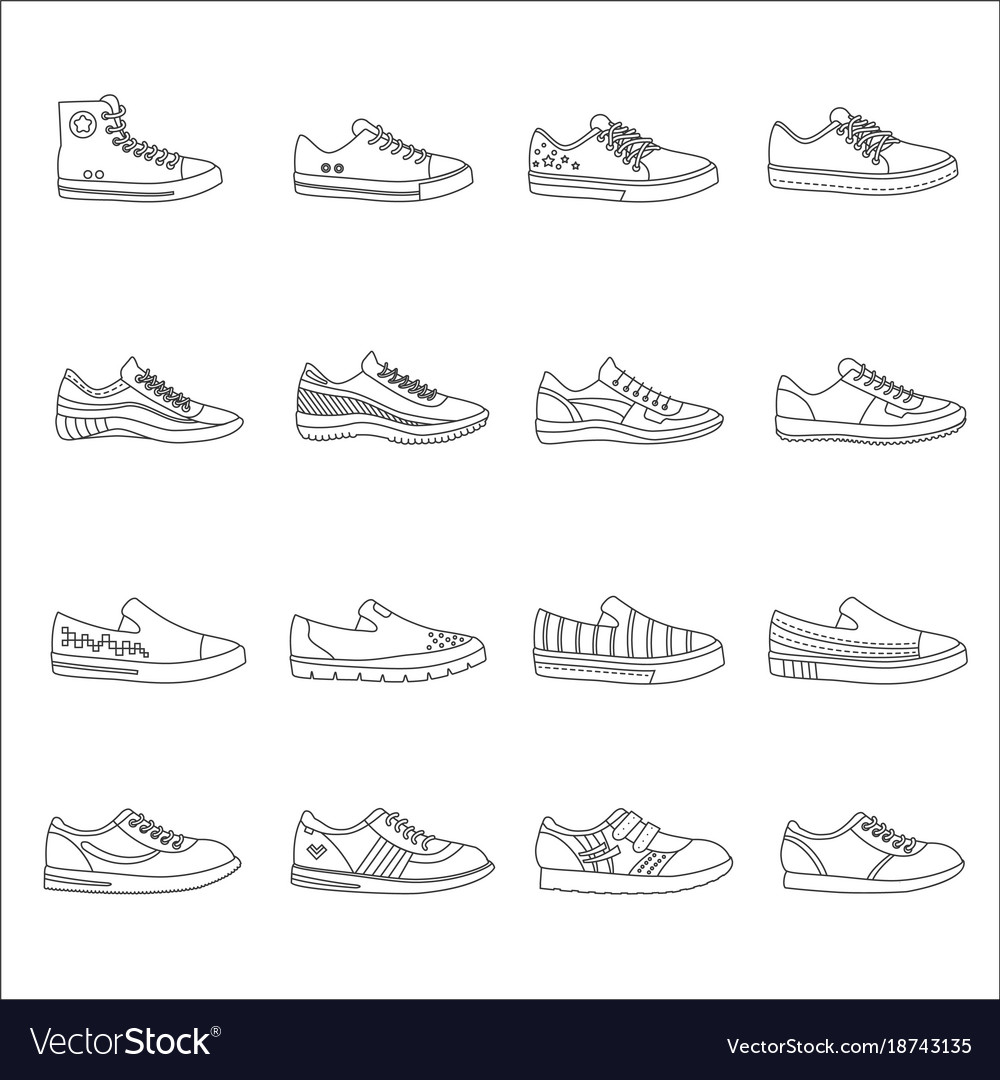 Sneakers shoes outline line stroke icons set
