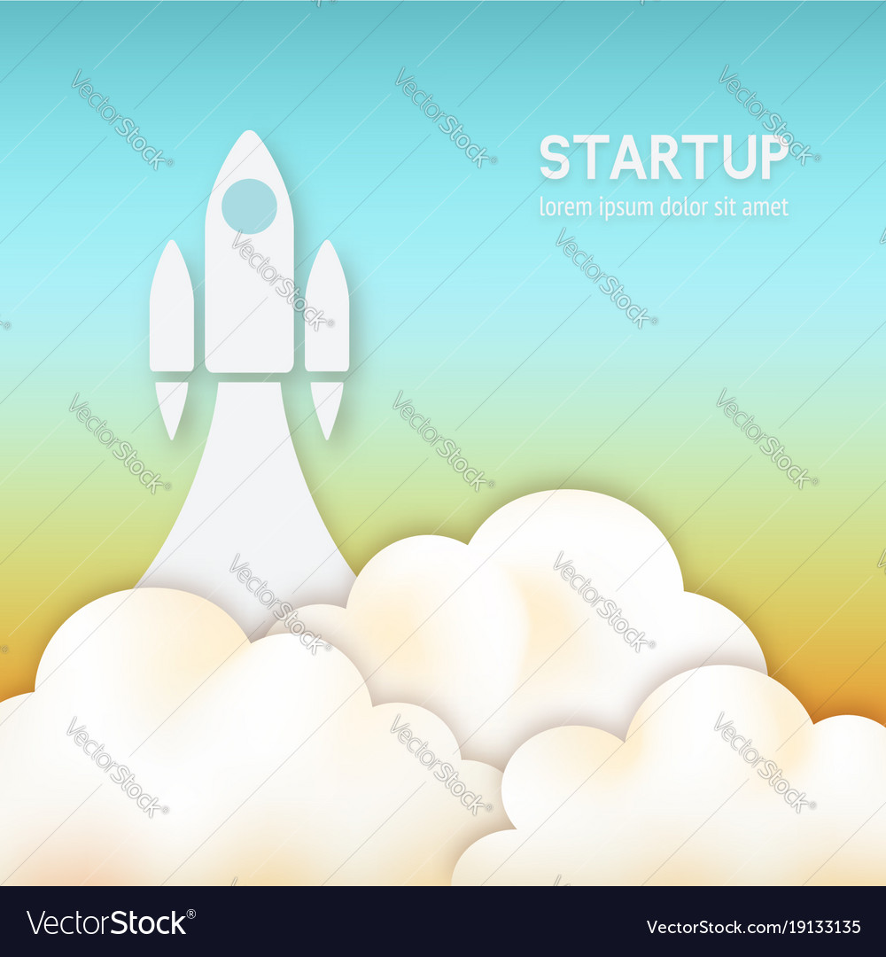 Startup concept rocket flying up in sky vector image