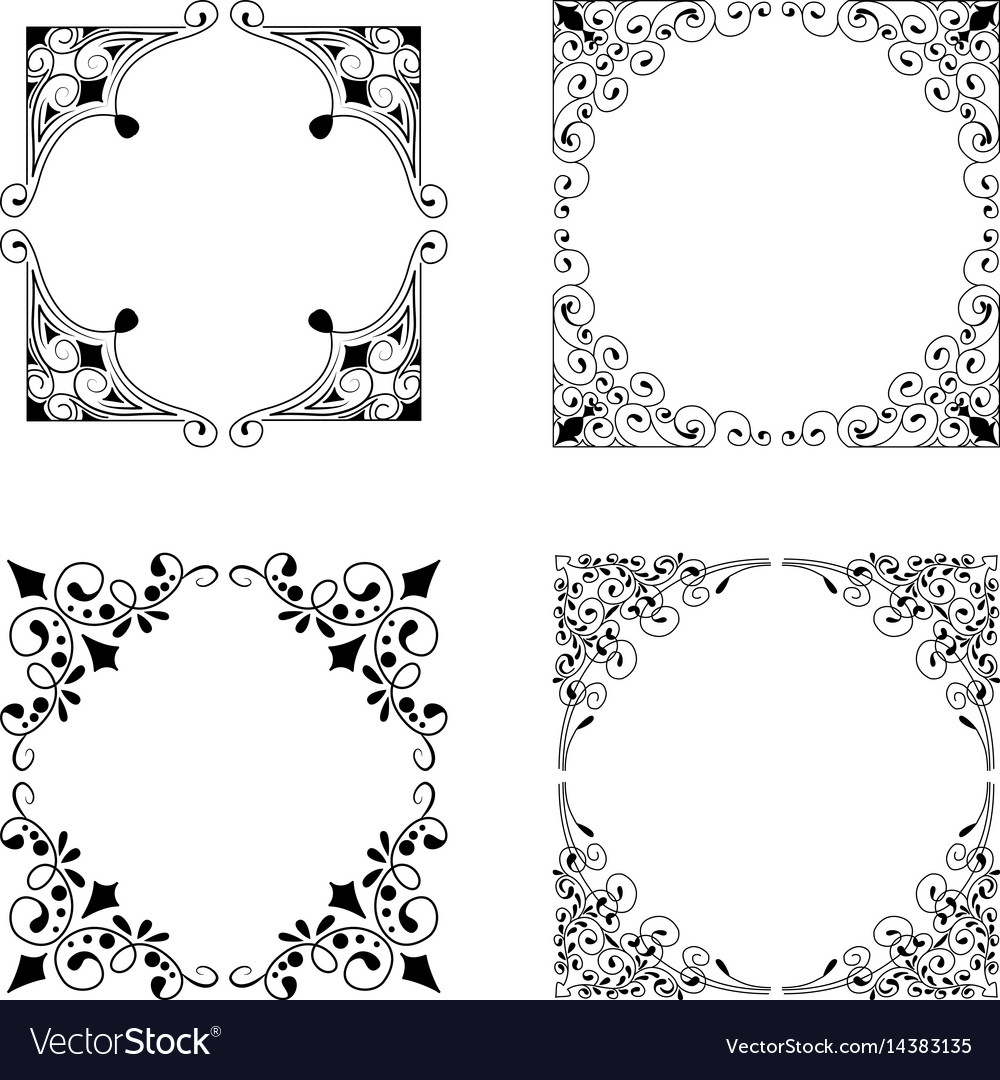 917590a9d561 Vintage style square frames collection Royalty Free Vector