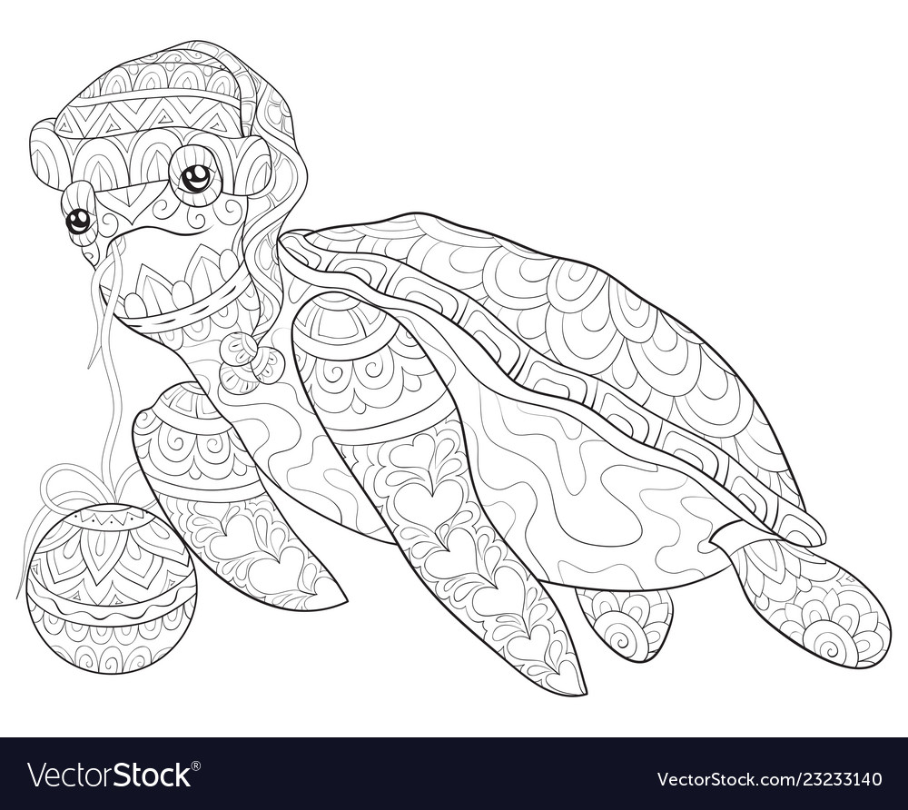 Adult coloring bookpage a cute turtle with