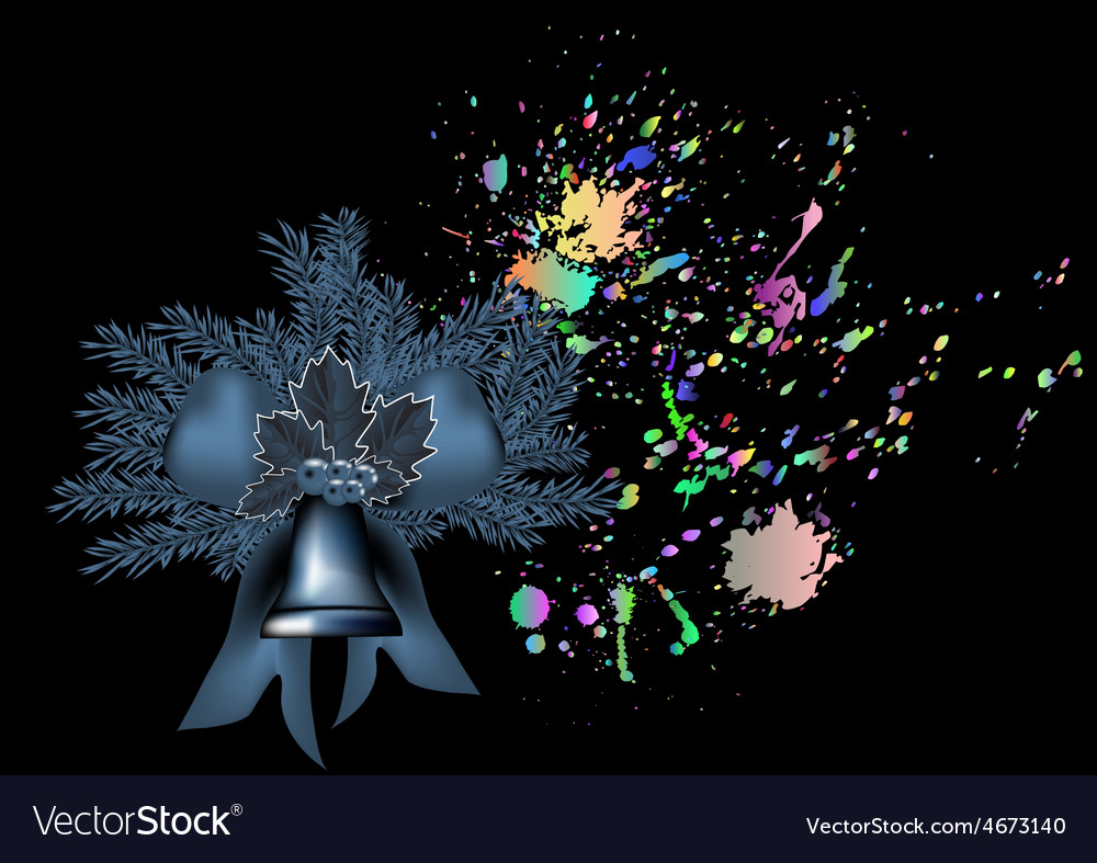 Bell and christmas tree vector image