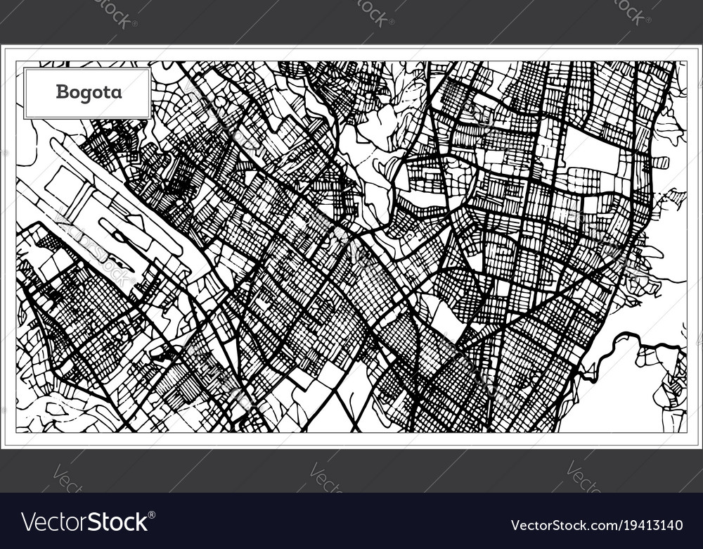 Bogota colombia city map in black and white color Vector Image