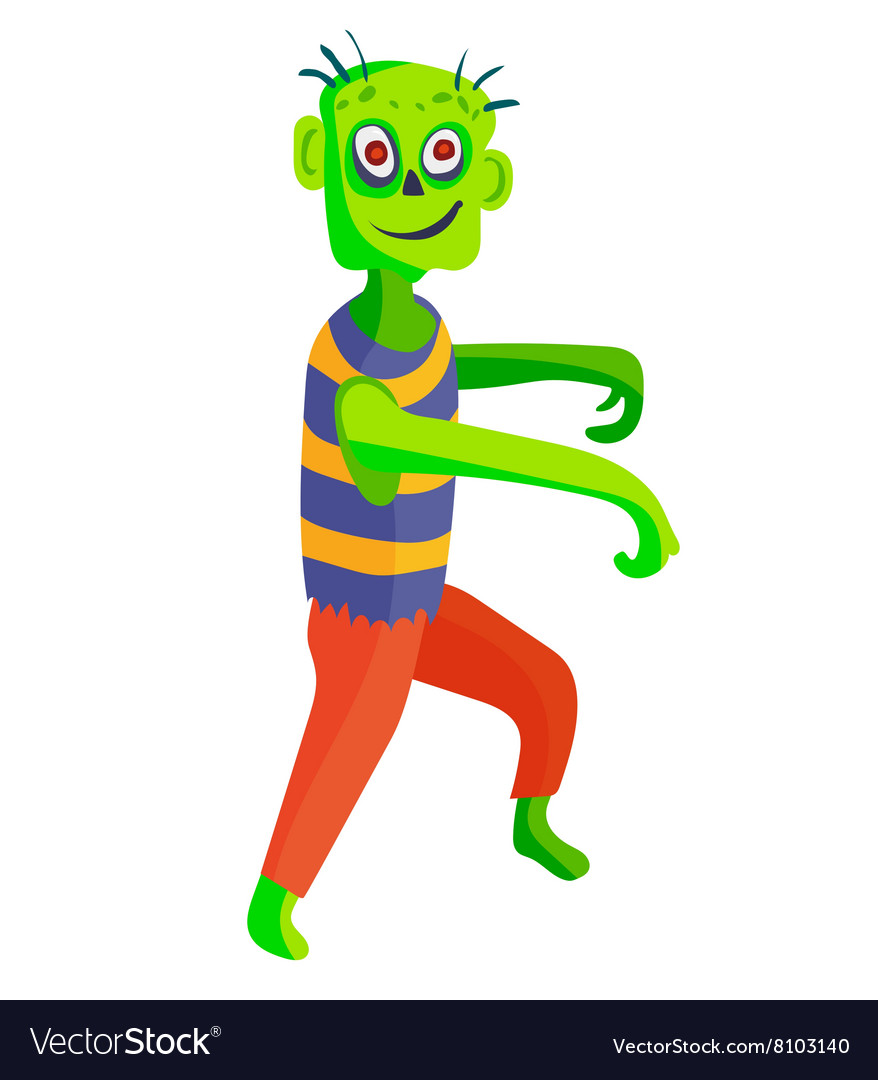 Cute green cartoon zombie character set part of