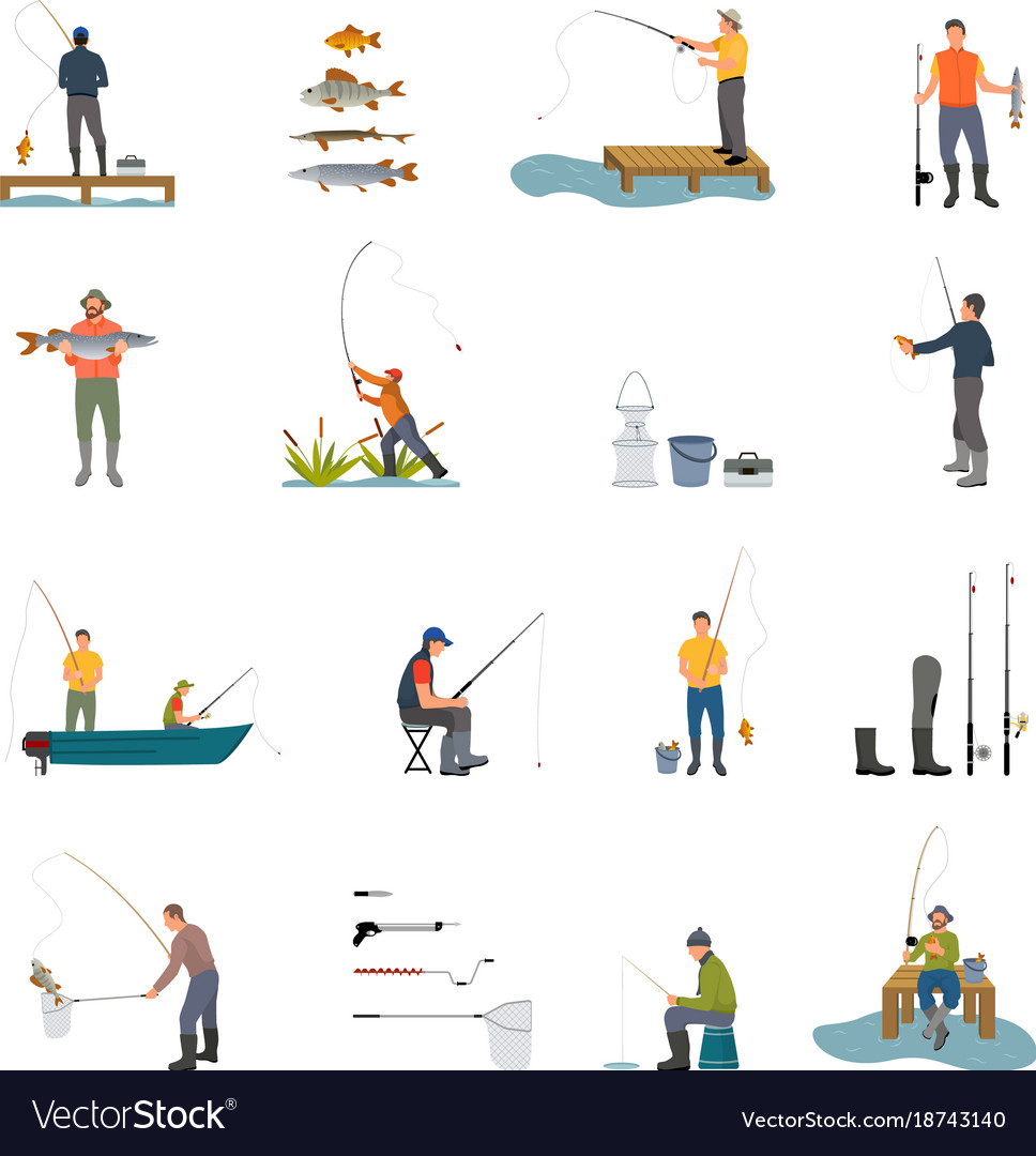 Fishing activity of men on vector image