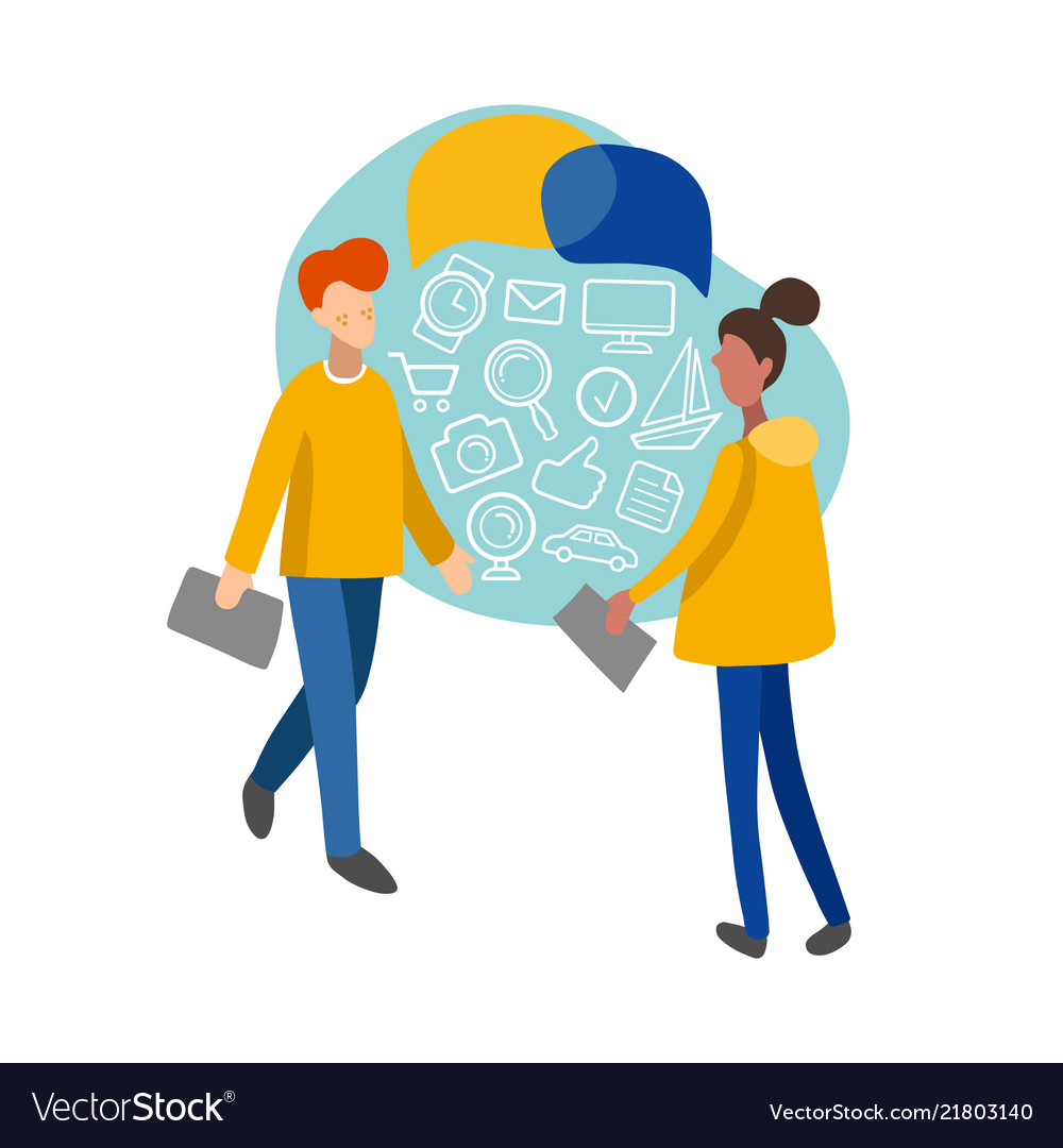Flat infographics of man and woman with consumer