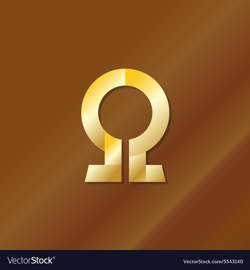 Golden style omega letter symbol