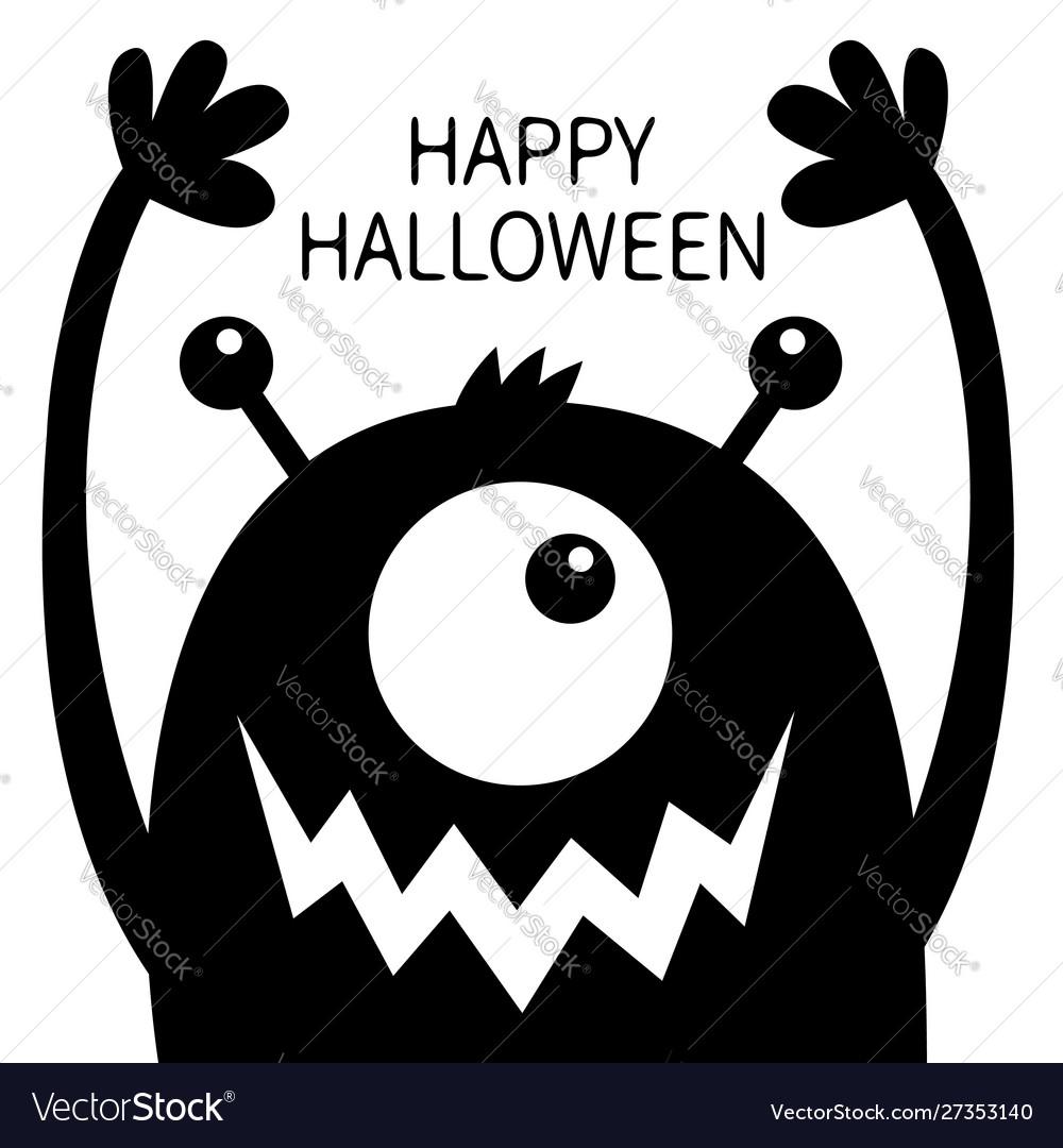 Happy Halloween Monster Head Black Silhouette One Vector Image