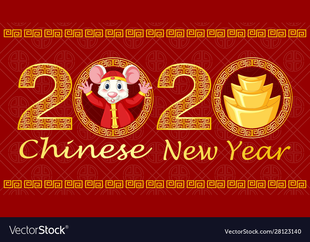 Happy new year background design with rat and gold