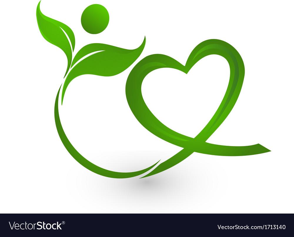 Healthy leafs with heart shape logo