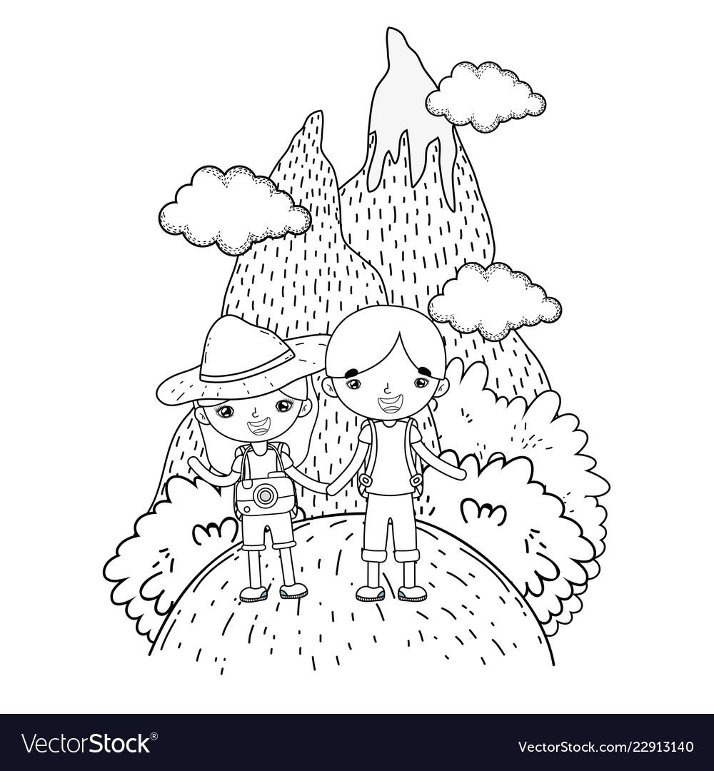 Little tourist kids couple in landscape scene