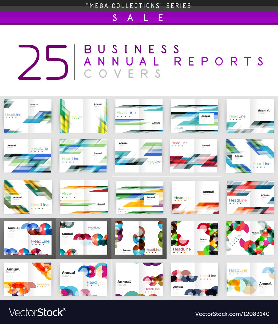 Mega collection of 25 business annual reports vector image