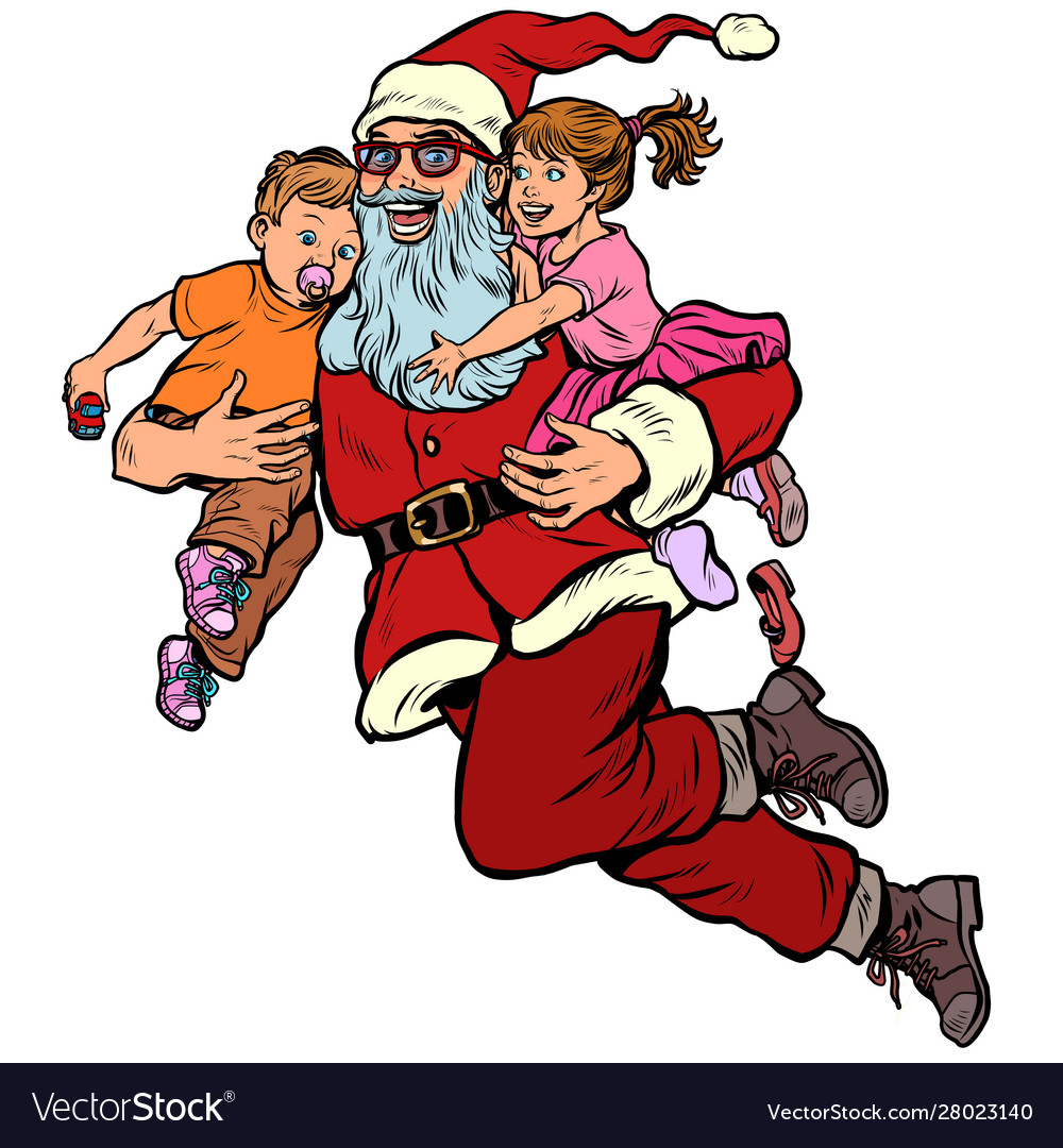 Santa claus with children christmas and new year