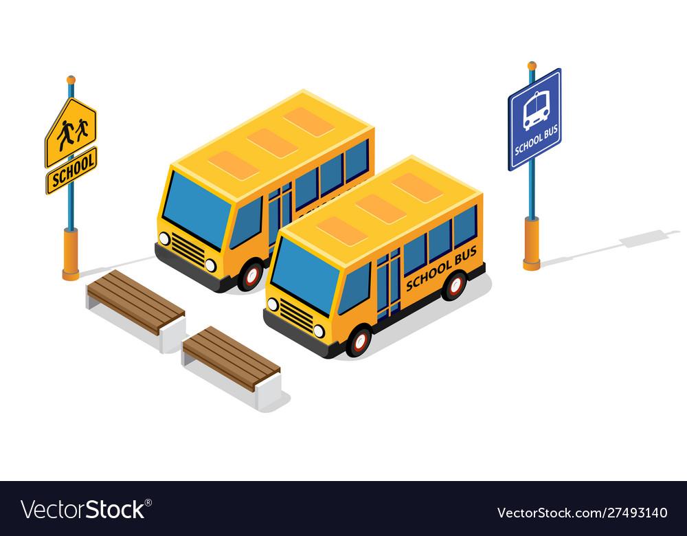 School bus on street parking lot