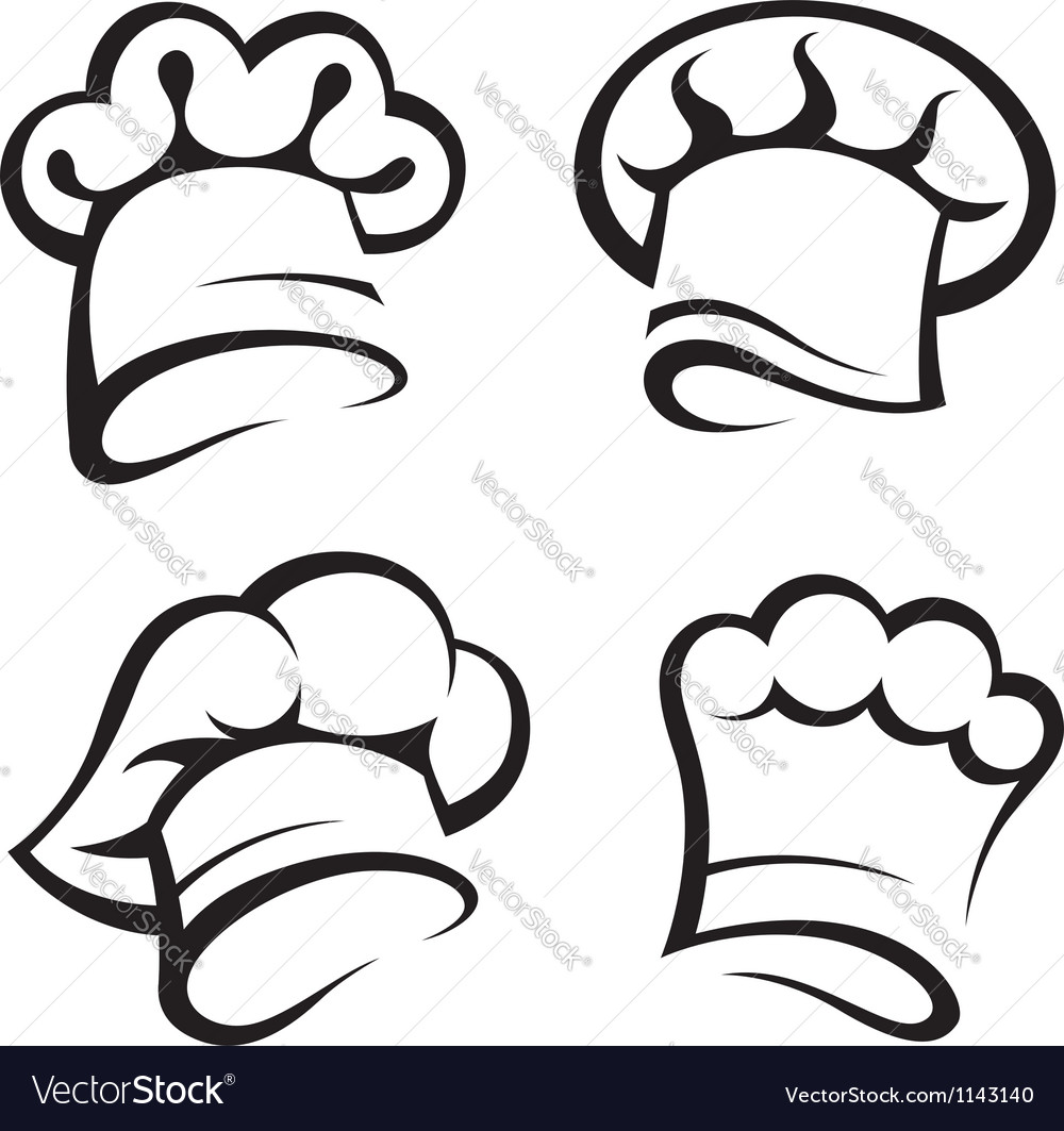 set of chef hats royalty free vector image vectorstock