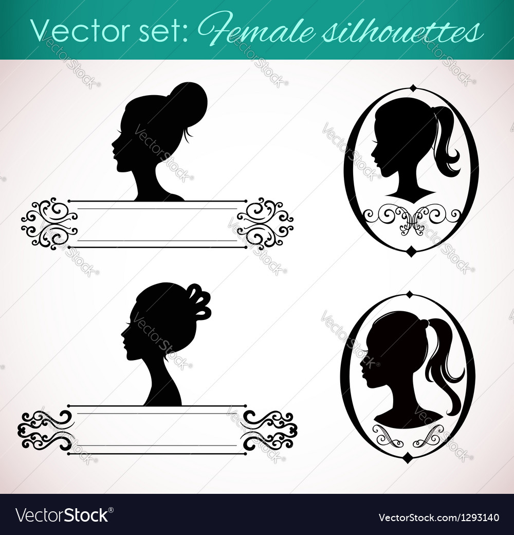 Set of female silhouettes in retro style