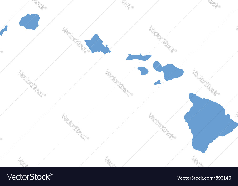 State Map Of Hawaii By Counties Royalty Free Vector Image