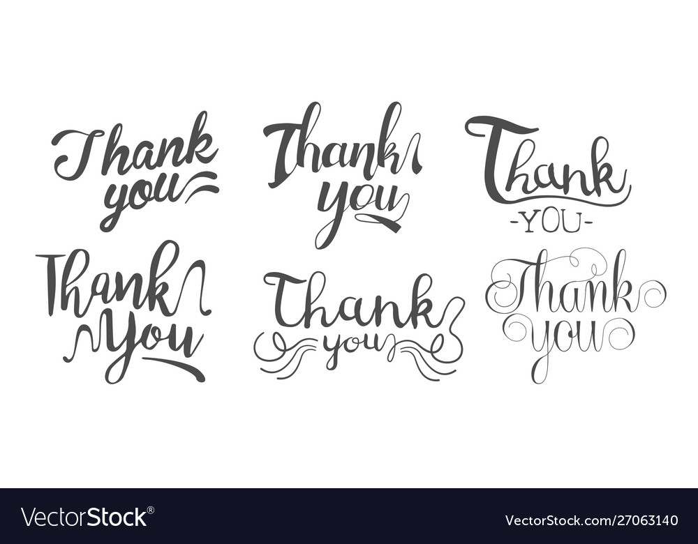 Thank you retro hand drawn monochrome labels set