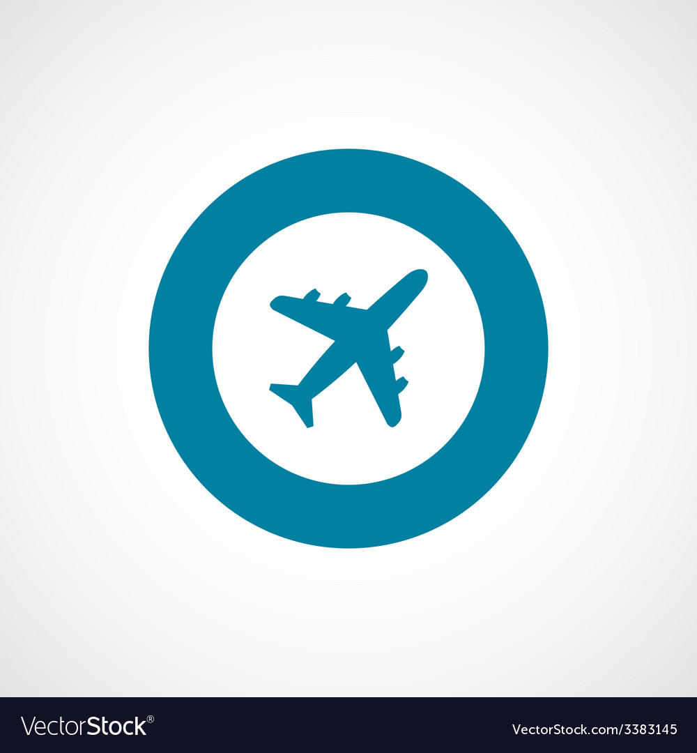 Airplane bold blue border circle icon