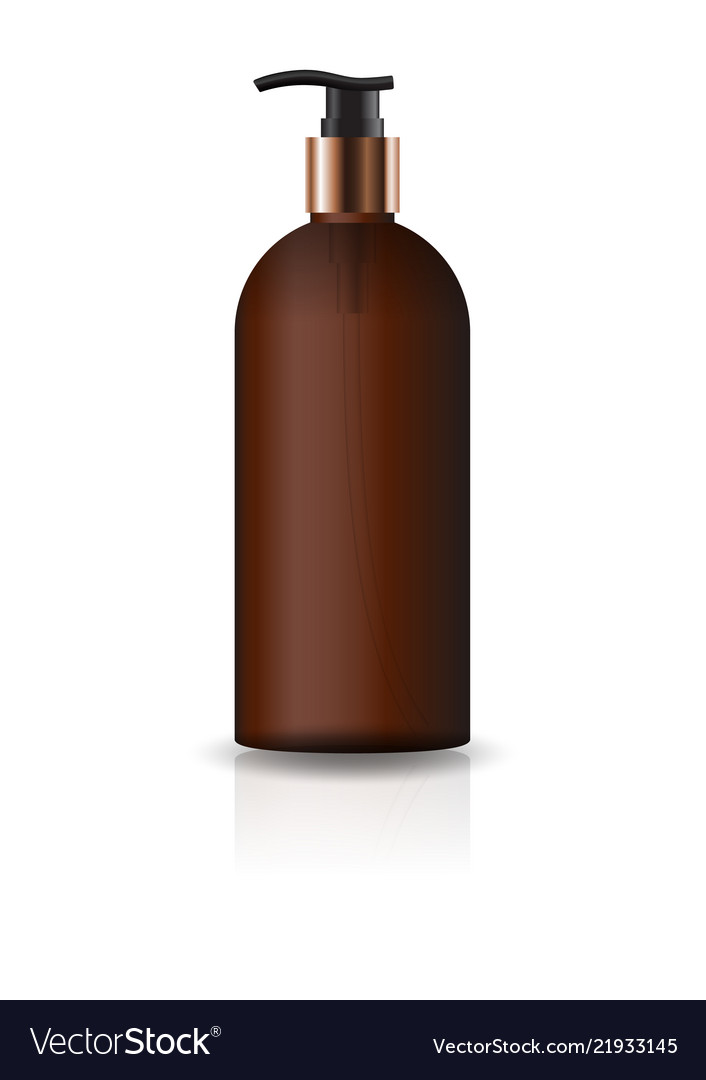 Blank brown cosmetic round bottle with pump head