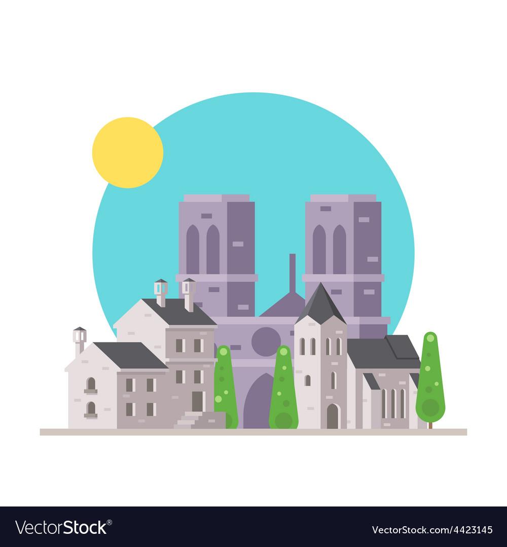 Flat design of Notre Dame France with village