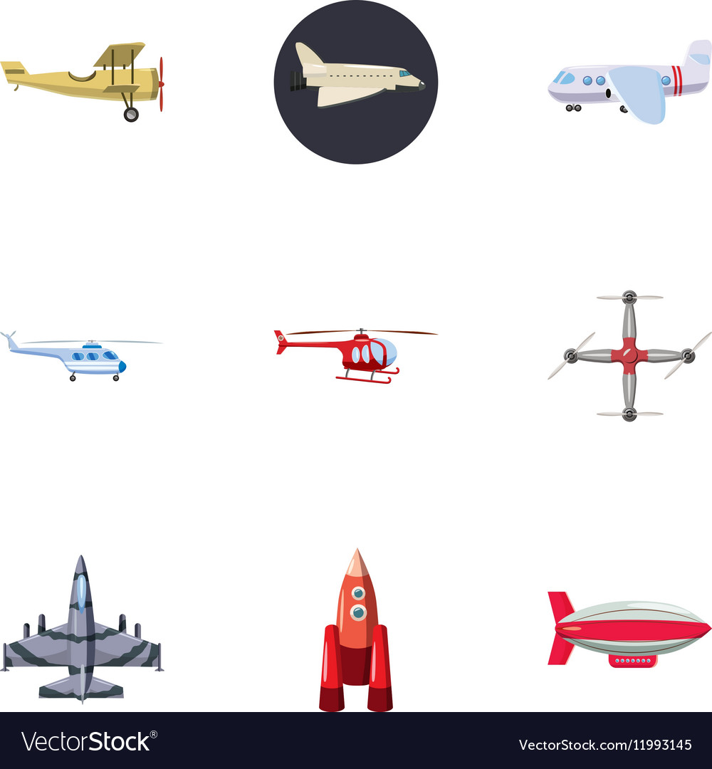 Flying Vehicles Icons Set Cartoon Style Royalty Free Vector