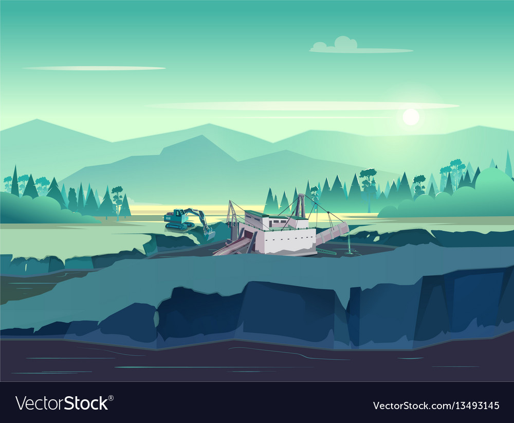 Gold mining vintage wild nature at vector image