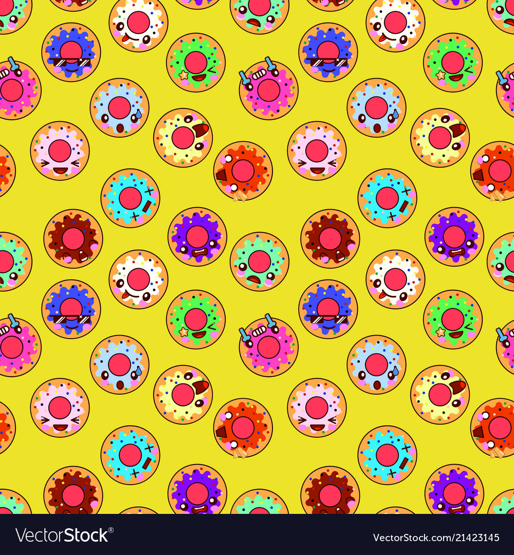 Happy donuts seamless pattern background perfect