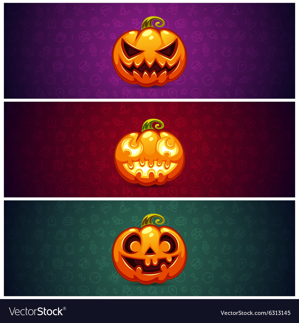 Horizontal Halloween Banners Background with