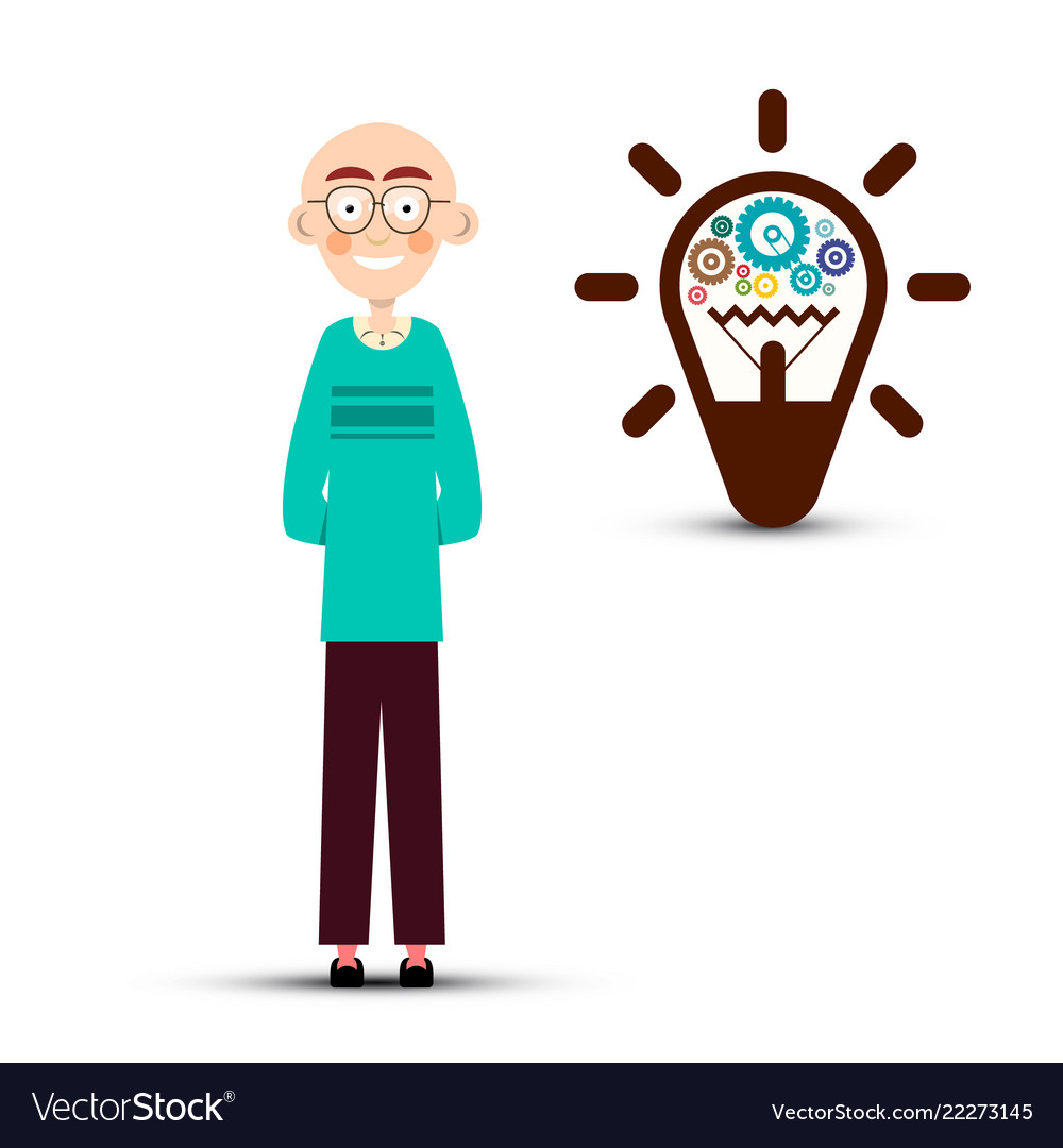 Man with cogs inside bulb idea symbol isolated on