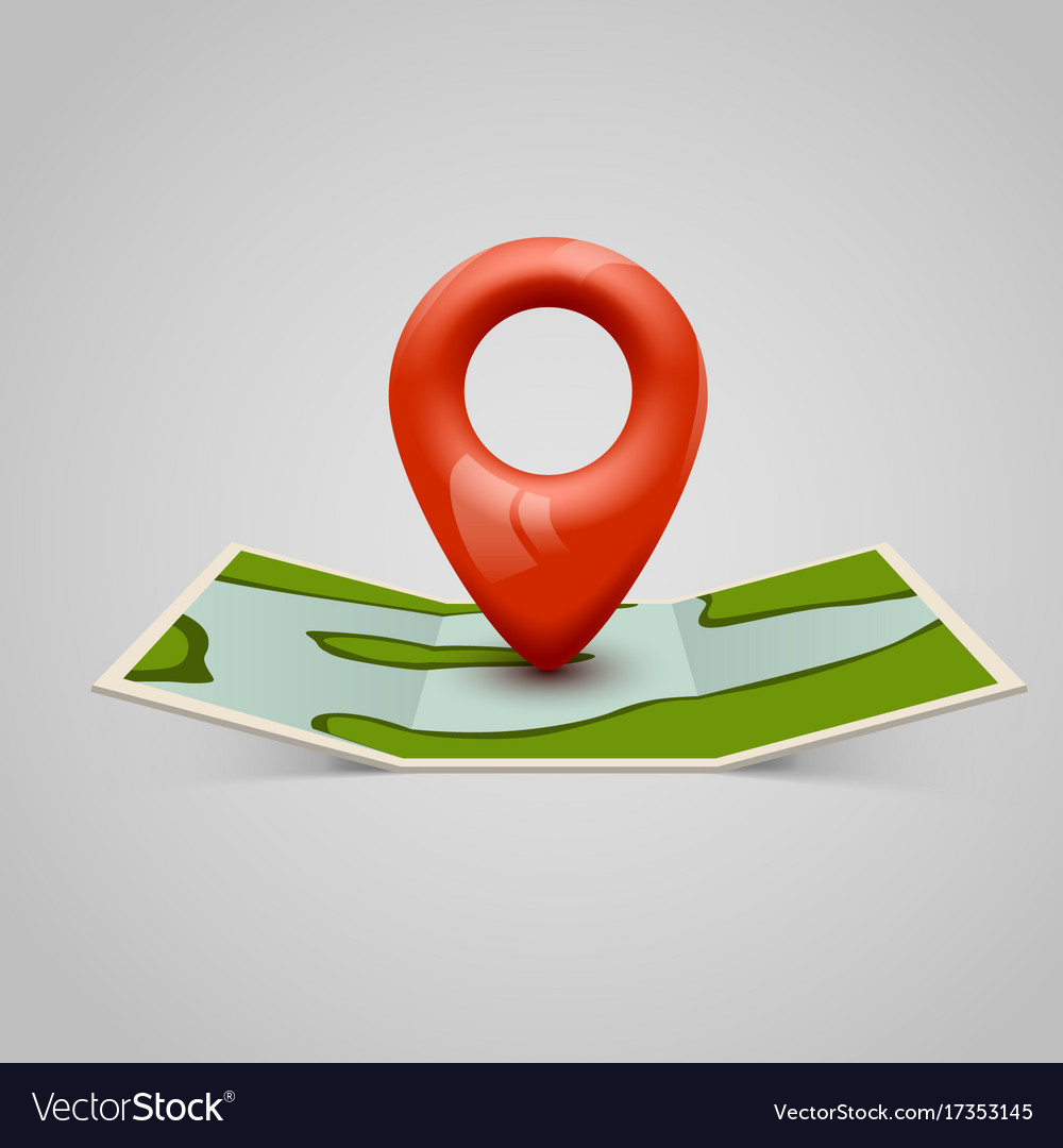 Paper map icon with pin pointer