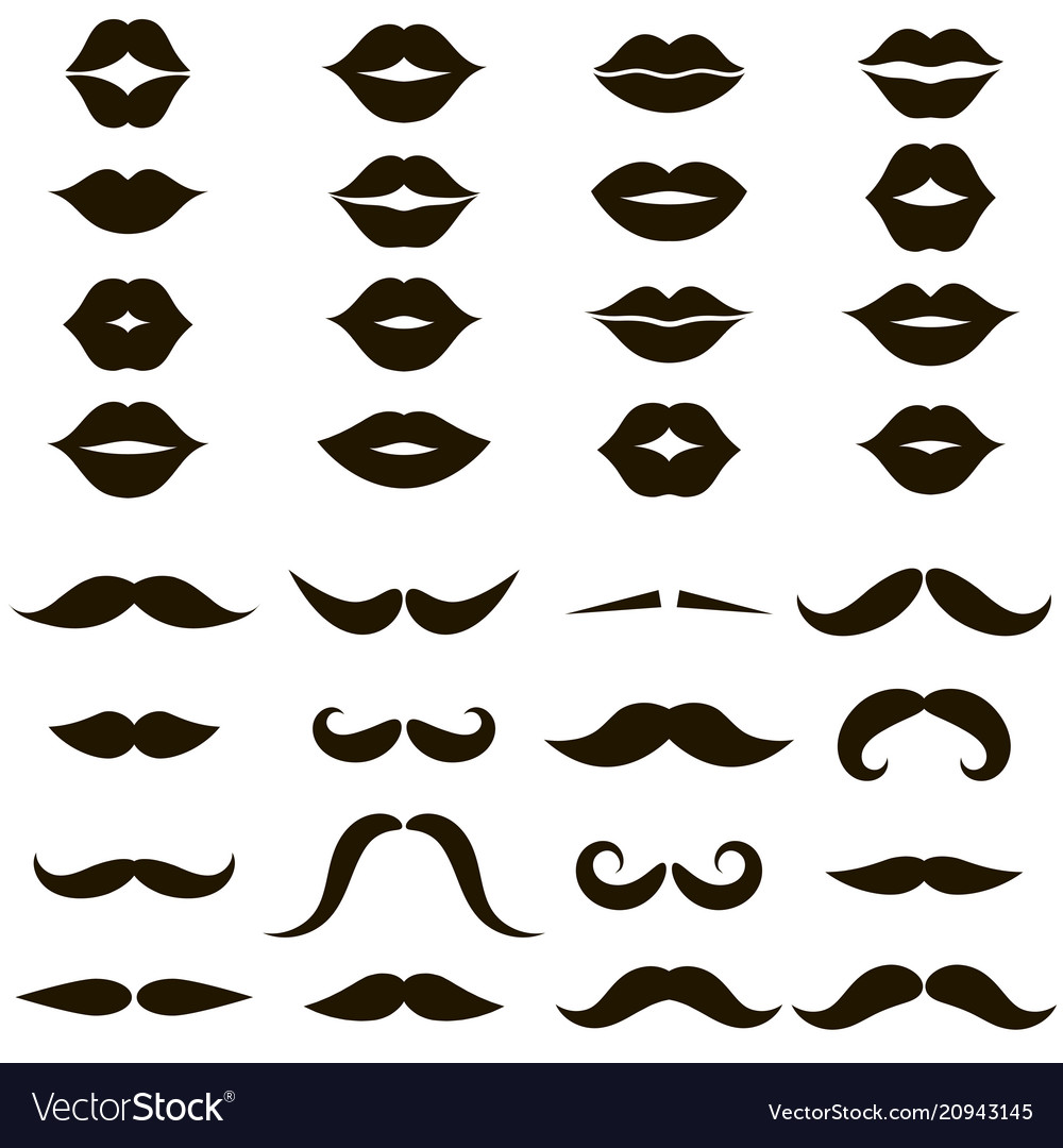 Set of black mustache and women s lips icons