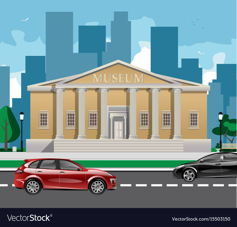 Big building with white columns isolated
