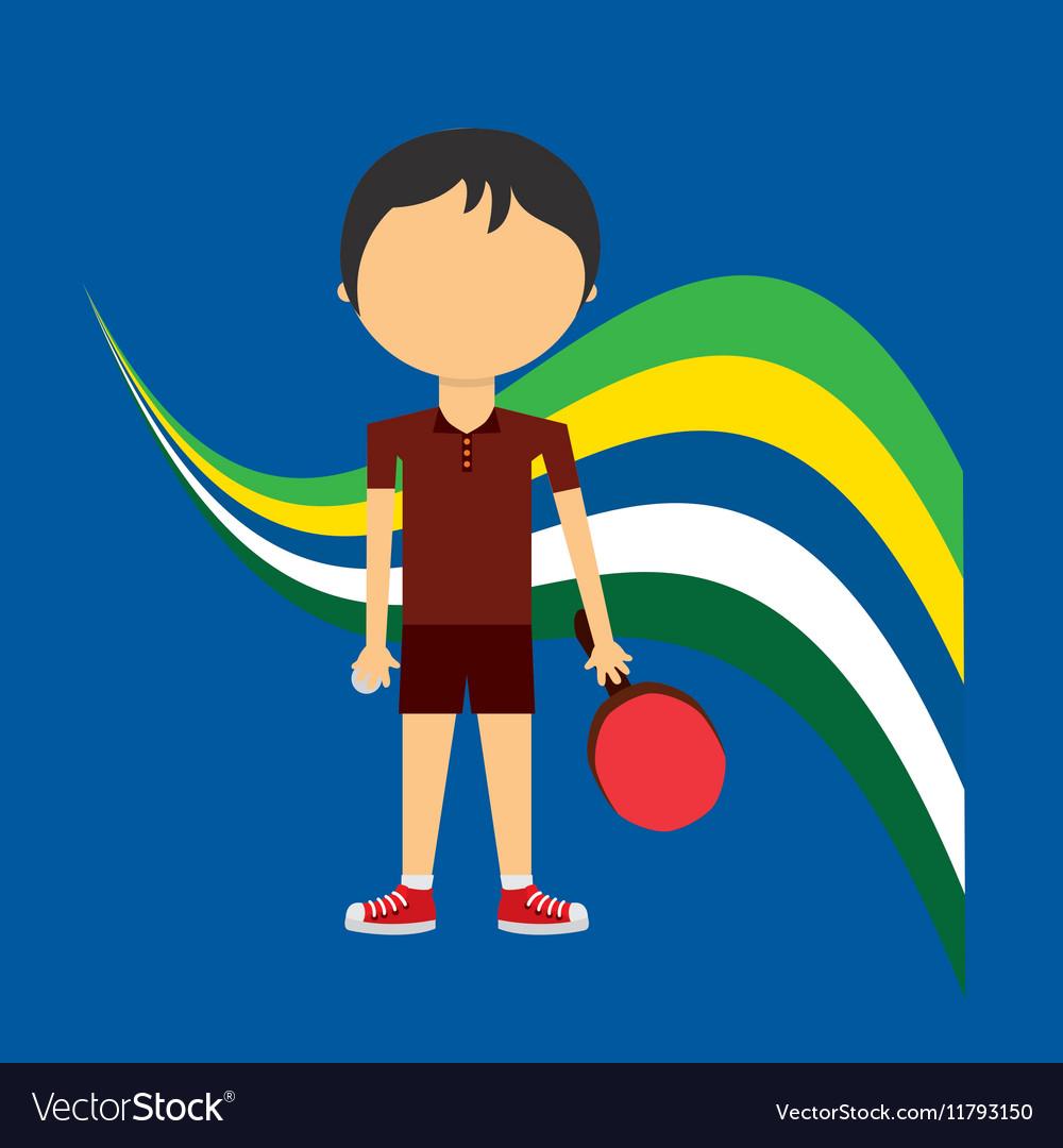 Cartoon ping-pong player brazilian label vector image