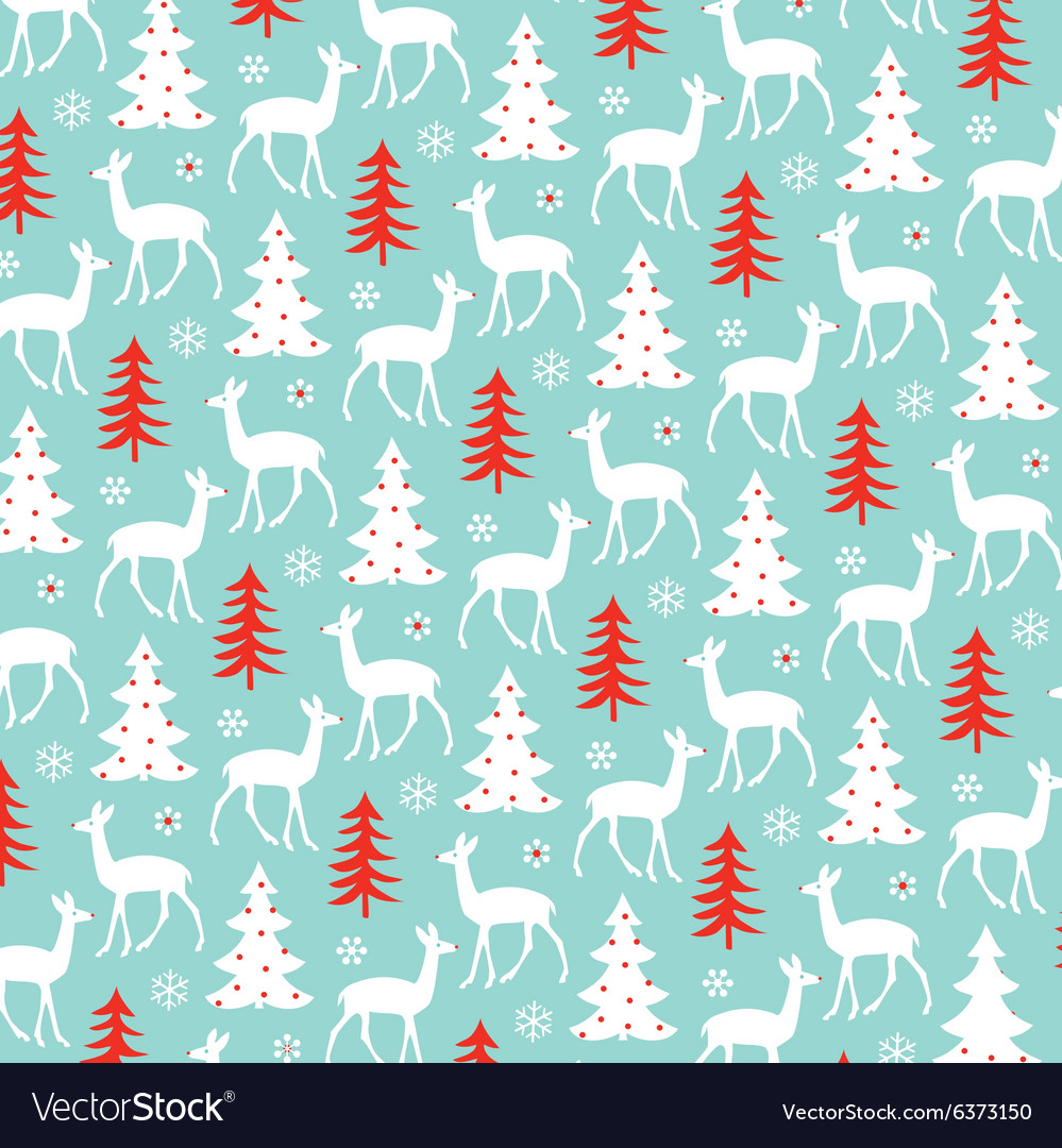 Deer and christmas tree pattern