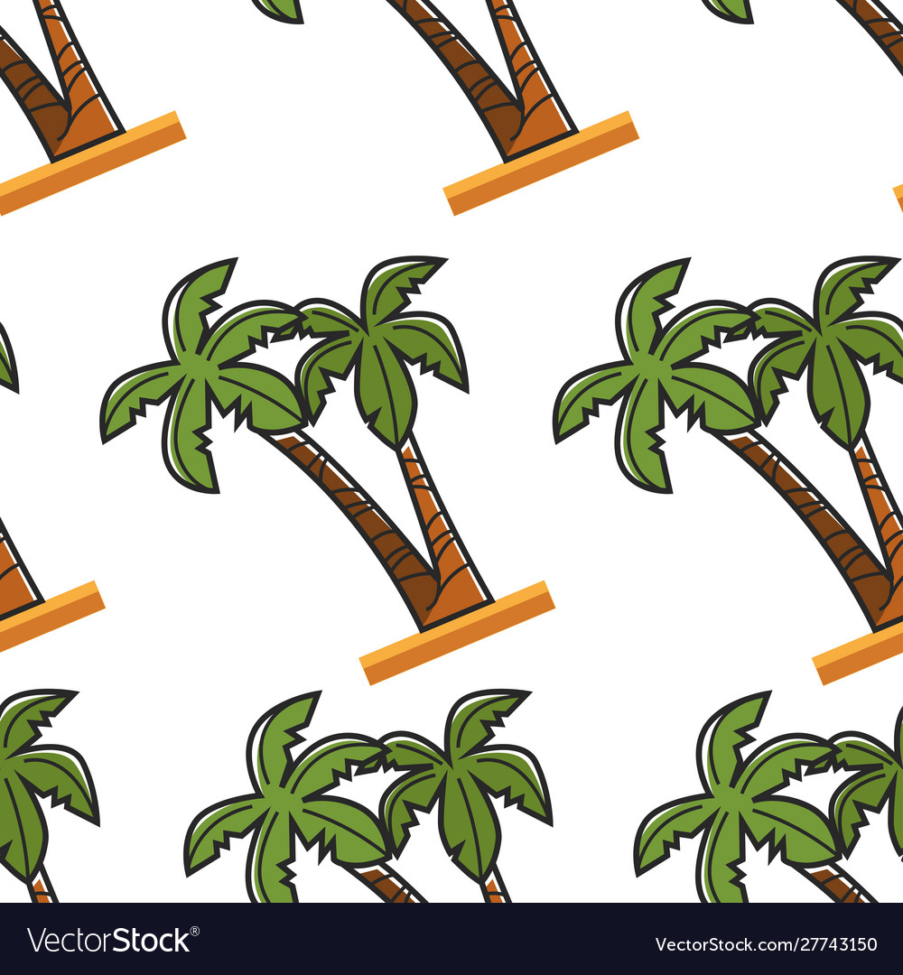Egyptian beach plant palm tree seamless pattern