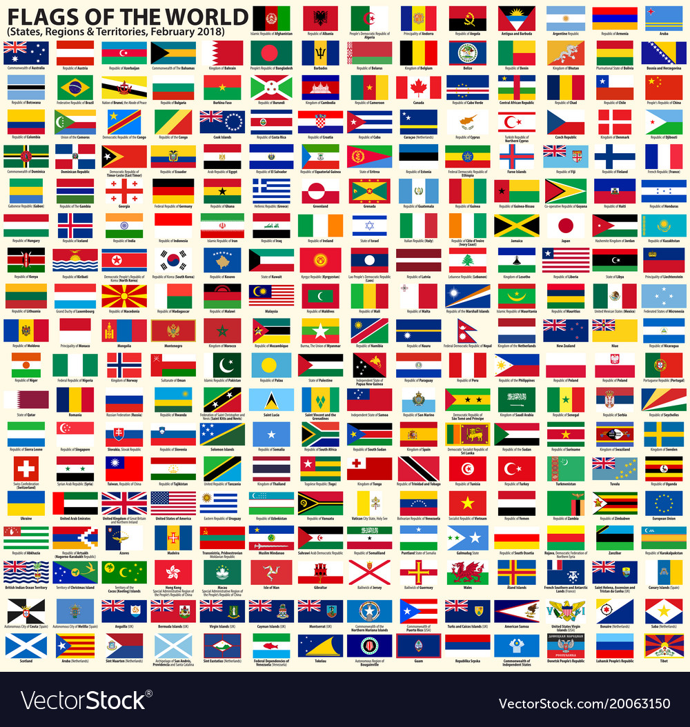 Flags sovereign states regions and territories