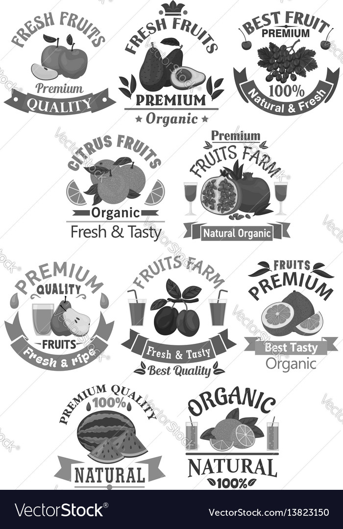 Fruits icons for farm store or juice label