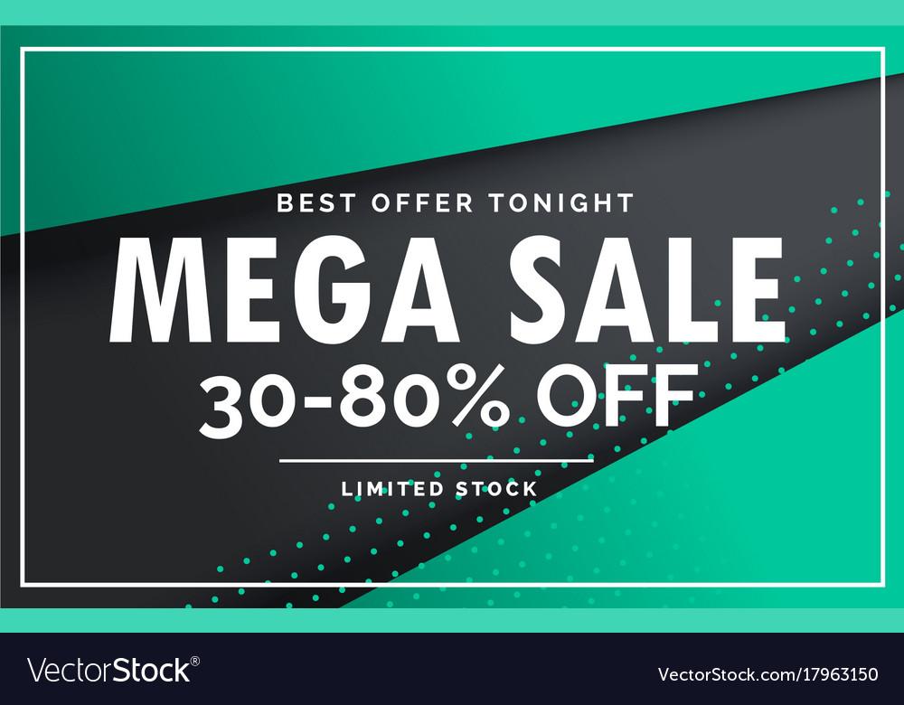 Mega sale banner voucher card design template Vector Image