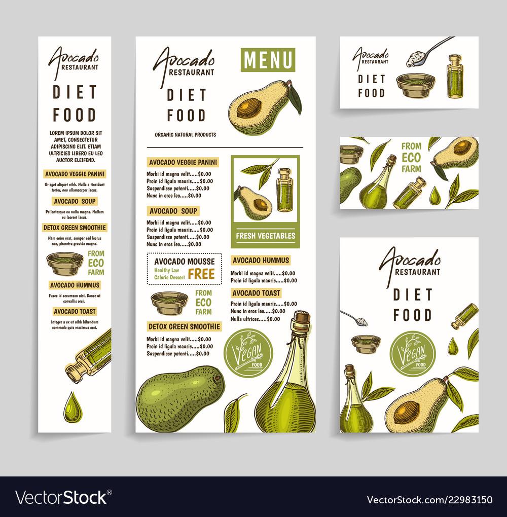 Menu with avocado restaurant dietary vegetarian