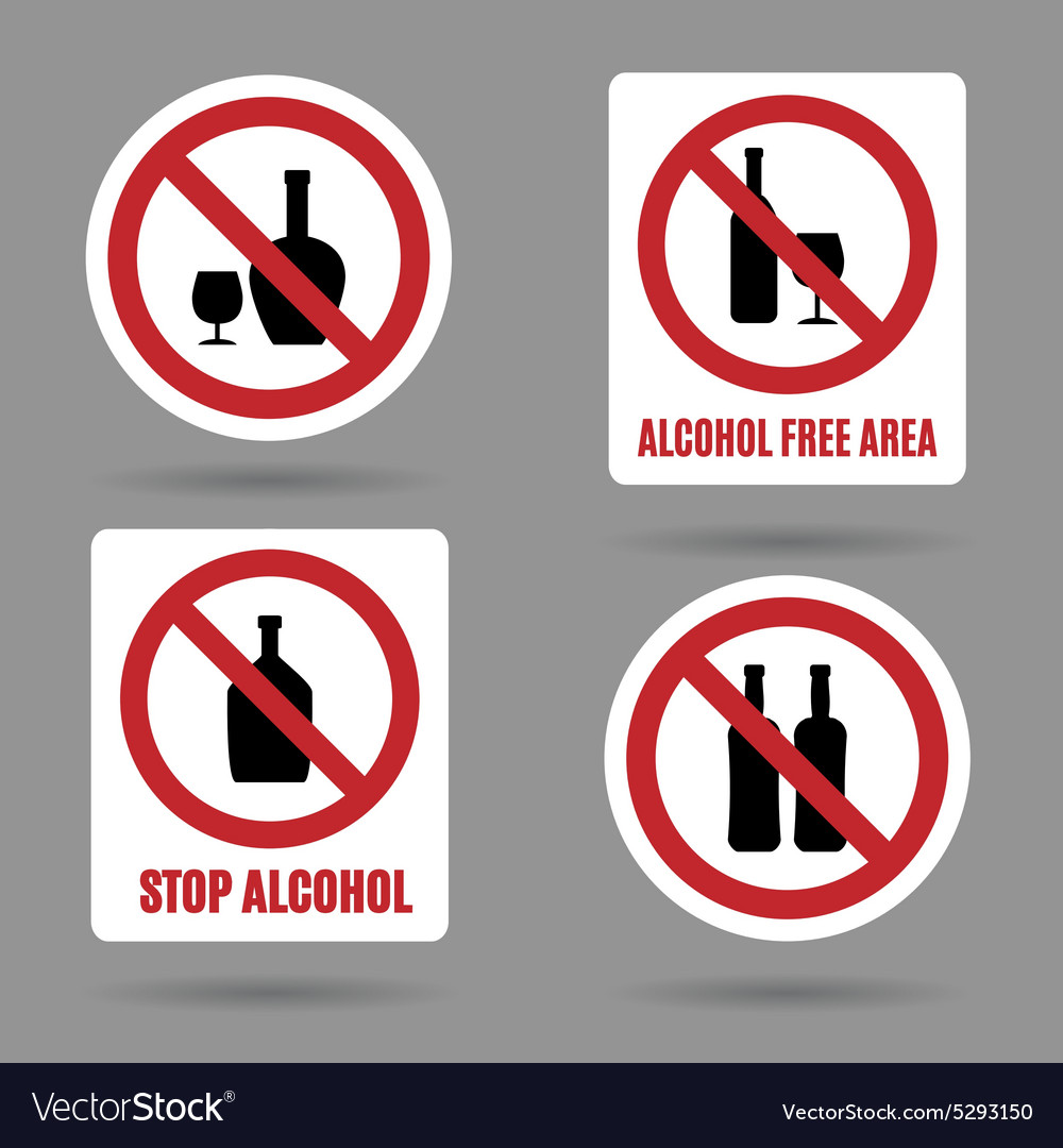 No alcohol and free area signs